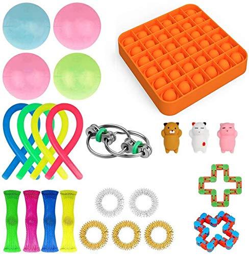 Juego de juguetes fidget Pack, Alivia el estrés ansiedad apretar para niños adolescentes y adultos, caja de inquietud con malla de mármol, Push Pop Pop Bubble Sensory Fidget Juguetes Pack