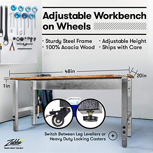 Fedmax Work Bench – Acacia Wood Garage Workbench w/Casters – Tool Table w/Adjustable Height Legs – Benches for Home Improvement