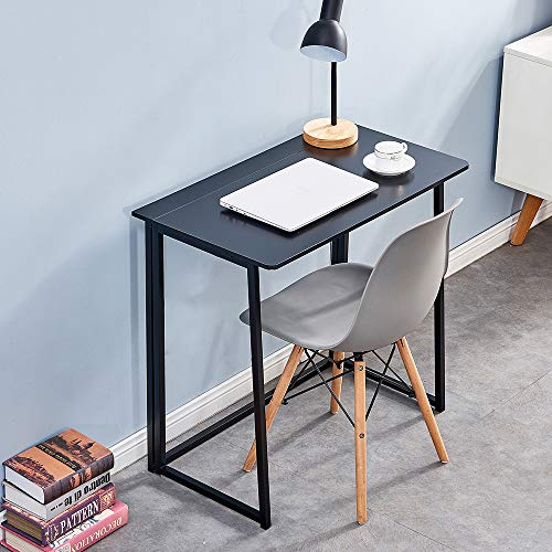 QIHANG-UK Small Computer Desk Table Fold Up Writing Desk Tidy 80cm Student Desk Laptop Desk for Home Room Corner Foldable Compact Modern Study Desk