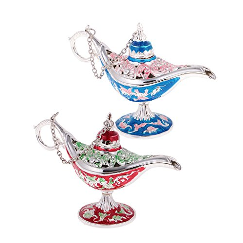 Bonarty 2Pcs Collectable Light Genie Lamp Ring Earrings Jewelry Box