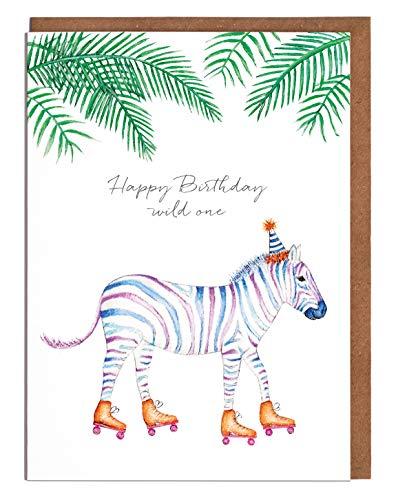 """Lottie Murphy Zebra Geburtstagskarte – """"Happy Birthday Wild One"""" – Karte für Sie – Karte für Ihn"""