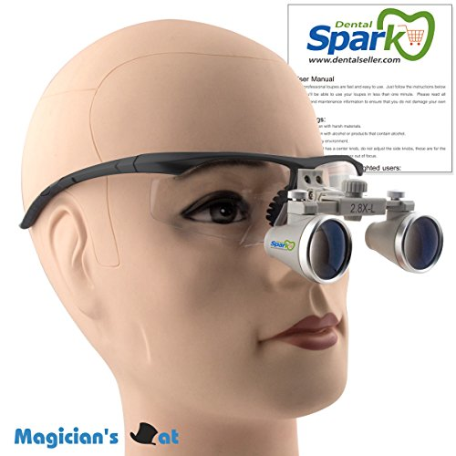 Spark 拡大鏡2.8倍に拡大でき 専門 歯科用 精密440-540mm調整でき ヘッドルーペ メガネルーペ 折りたたみができ 製作 機械 作業 生物研究 開発 手術 歯科 医用 医者 眼科 外科にも使える 拡大鏡 虫眼鏡 双眼ルーペ 時計見ルーペ
