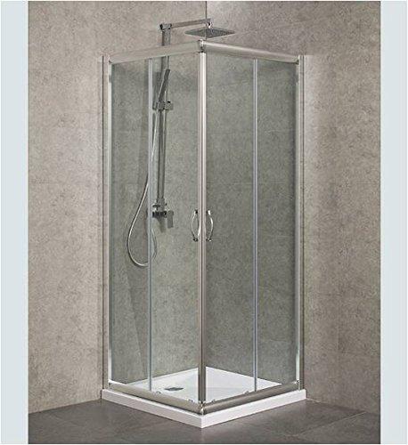 Duschabtrennung, Duschkabine, Größe: 80 x 120 cm, H 185 cm, Echt Glas 6 mm stark, Eck Öffnung, 2 Schiebetüren, Aluminiumprofile in Chrom Glanz