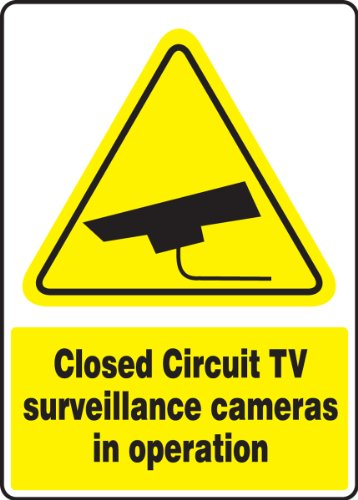 "Accuform MSEC544VP Plastic Safety Sign, Legend""Closed Circuit TV Surveillance Cameras in Operation"" with Graphic, 14"" Length x 10"" Width x 0.055"" Thickness, Yellow/Black on White"