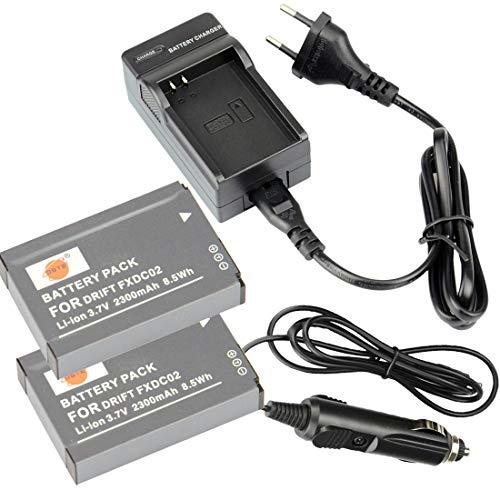 DSTE®(2 Pack)Ersatz Batterie und DC143E Reise Ladegerät Compatible für DRIFT FXDC02 HD GHOST DSLR Digatal Kamera