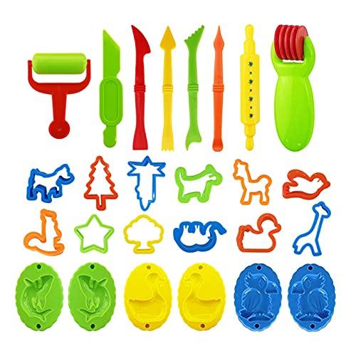 skrskr 26 piezas de herramientas de plastilina, juego de accesorios para plastilina, varios moldes de plástico, cortadores de rodillos, regalo educativo para niños, color aleatorio