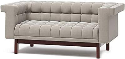 "TrueModern George Condo Sofa with Fabric, Walnut Finish, 78"", Dolphin"