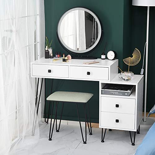 MATHROSE Vanity Set with Lighted Mirror, 3-Color Touch Screen Dimmable Mirror, with 4 Storage Drawers Storage Organizer, Sturdy Steel Legs, Bedroom Makeup Dressing Table with Cushioned Stool (White)