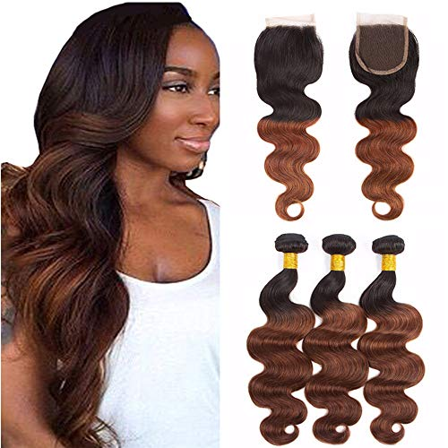 Vaovos Hair Two Tone 1b 33 Auburn Hair Bundles With Closure Dark Roots Virgin Malaysian Hair Extensions Copper Red Ombre Body Wave Hair Bundles With Lace Closure (14+14 16 18)