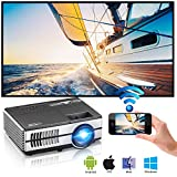 2018 Proyector inalámbrico Bluetooth WiFi portátil Airplay HDMI 1080P...