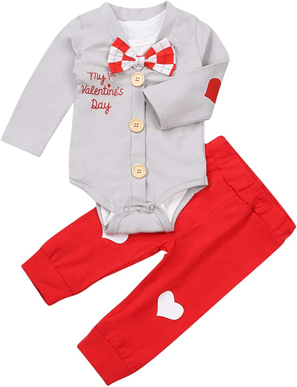 TUEMOS Newborn Infant Baby Boy Valentines Clothes My 1st Valentines Day Outfits Bow-tie Romper+Coat+Heart Pants 3PC Clothes