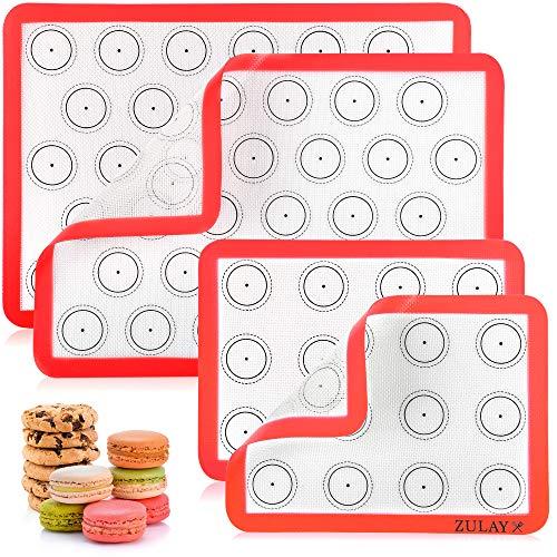 Zulay Silikon-Backmatte (4er-Set) – Macaron-Silikon-Backmatten mit vorgedrucktem Schablonen-Design – antihaftbeschichtet & wiederverwendbar Silikon-Backblech – 2 halbe Größe + 2 Viertel Größe (rot)