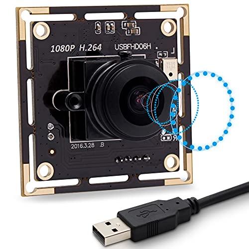 SVPRO Módulo de cámara USB ojo de pez de 180 grados con audio digital, FHD 1080P USB con sensor IMX322, cámara de seguridad web de 0,01 Low Lux 30 fps, soporte H.264