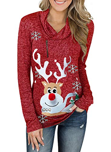 Dearlove Womens Christmas Funny Cowl Neck Zipper Reindeer Snowflakes Tunic Sweatshirt Pullover Sweater Tops Red L
