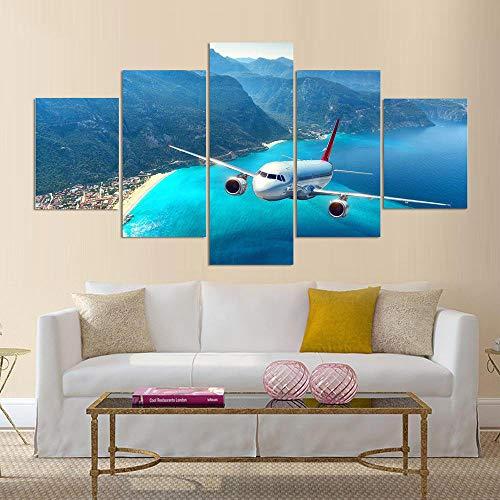 QZWXEC Leinwandbilder 5 teilig Flugzeug Drucke Auf Leinwand Wandkunst Moderne Malerei Poster 5 Stück Modularen Bilderrahmen Wohnzimmer Dekoration