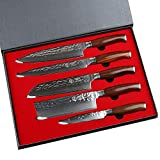Yarenh 5-Piece Kitchen Knives Set,Sharp Blade with Damascus Stainless Steel,Professional Chef Knife Sets