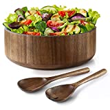 Miusco Natural Acacia Wooden Large Salad Serving Bowl with Tongs Set, 12 Inch, 200 Oz./6.25 Quarts, Spoons Included, Premium Handcrafted Wood Bowl and Utensils Set, Great Holiday Gift