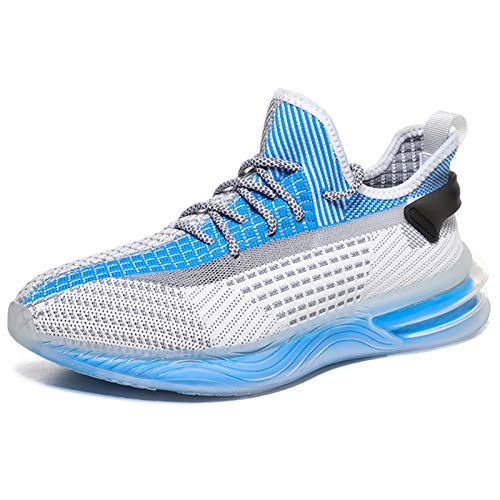 Zwyzspd Zapatillas de deporte para hombre, con aspecto de punto transpirable, zapatos antideslizantes, color Azul, talla 42 2/3 EU