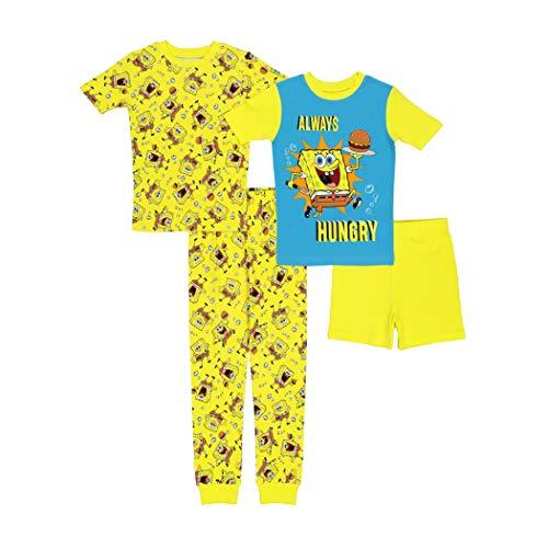 Nickelodeon Boys' Spongebob Squarepants Snug Fit Cotton Pajamas, Classic Sponge 2, 4