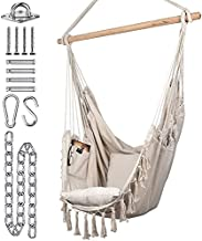 KOMOREBI Hammock Chair | Hanging Rope Swing for Indoor & Outdoor | Soft & Durable Cotton Canvas | 2 Cushions Included | Large Macrame Hanging Chair with Pocket for Bedroom, Patio, Porch (Ivory)