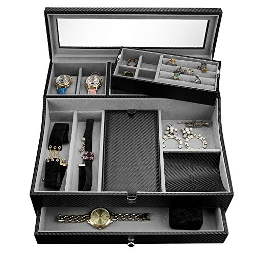 HAUTEROW Valet Tray for Men| Sleek Dresser-Organizer Box for Storage & Display| Perfect for Phone, Watches, Sunglasses, Jewelry, Wallet, Rings, Necklace & More| Carbon Fiber & Faux Leather