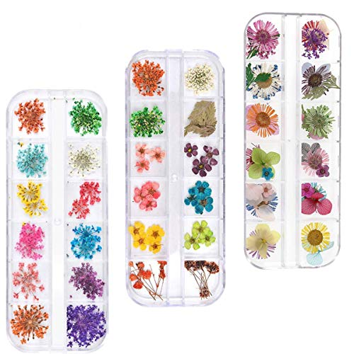 88Pcs Nail Art Real Dried Flower Set - 3D Nail Art Accessories Kits Nail Parts Preserved Flower Manicure Nail Art Decoration