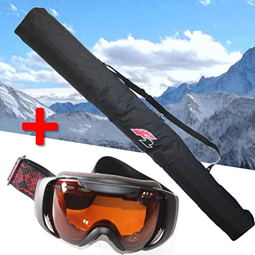 F2 Skitasche für 1 Paar Ski bis 190 cm + Skibrille FTWO Schwarz orange Getönt UV 400 Schutz Brille Skisack Skier Transport +