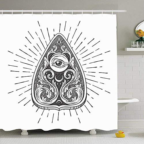 Hotyle Duschvorhang 150X180 cm Hand gezeichnete Weissagung Wicca Brett Wicca Alter Planchette isoliert Gravur Vintage Objekte Retro