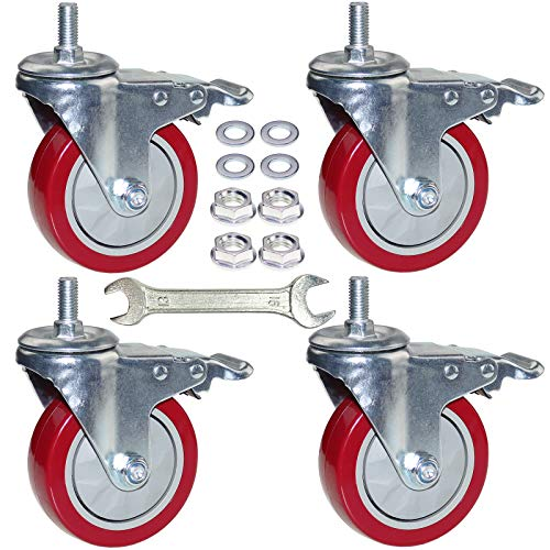 DICASAL 4 Inch Heavy Duty Stem Casters 360 Degree Swivel Thread Wheels with Metric Size M12-1.75 Screw Bolt Double Locking Brake Castor Wheel Load Capacity upto 1200 Lbs Pack of Four