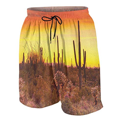 Saguaro Board Shorts for Men Swim Eve Sky in Barren Land with Cactus and Odd Weeds All Around The Dry Earth Photo high Waisted Pants for Men Red Yellow XL