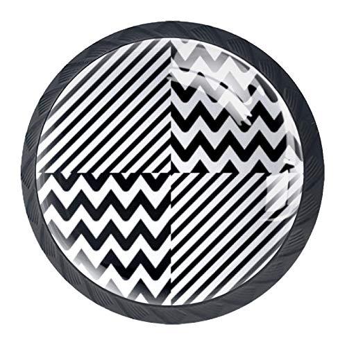TIZORAX Drawer Knobs Black Wave Round Kitchen Cabinet Handle Pulls 4 Packs for Cupboard Closet Dresser Door Home Decor