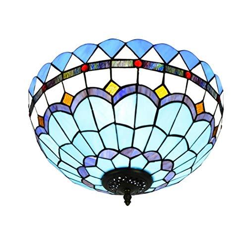 LHFJ Tiffany-Art-Blau-Buntglas-Erröten-Einfassung Deckenleuchte Antike Mittelmeer Deckenpendelleuchte Fixture für Esszimmer, Schlafzimmer, Flur, Eingang,40cmb