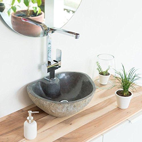 wohnfreuden Naturstein Waschbecken Waschtisch 40 cm gerade Rückwand Waschschale Findling
