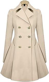 XFentech Mujer Gabardinas de Primavera Otoño - Elegante Abrigo Largo con Doble Botonadura Chaqueta
