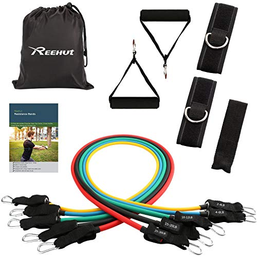 Reehut Exercise Resistance Band Set, 12 PCS Training Tubes Stackable up to 72 lbs for Workout Indoor and Outdoor,Fitness, Strength, Home Gym, Yoga