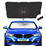 Car Windshield Sun Shade,Foldable Sunshade Umbrella for Car Front Windshield,Keep Car Cool,Easy to Use/Store Protect Vehicle from UV Sun and Heat Suitable for Cars,SUVs(54''x 31'')