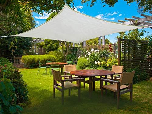 Sunnylaxx Wasserdicht Sonnensegel Sonnenschutz Garten - Rechteck 3x4m, UV-Schutz wetterbeständig Segel, Creme
