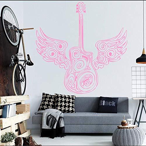 hetingyue Speciale gitaar met engel vleugels kunst ontwerp muur sticker slaapkamer huisdecoratie kunst muurschildering elektrische jazz instrument decal