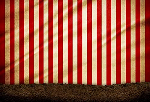 Baocicco 10x6.5ft Circus Backdrop Circus Tent Backdrop Happy Birthday Backdrop Carnival Backdrop Red and White Stripes Backdrop Baby Boy Girl Children Birthday Party Photography Booth Photo Props