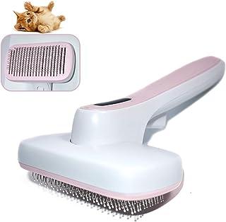 ペット用ブラシ スリッカーブラシ ペット 毛取り 抜け毛取りクリーナー グルーミング ワンプッシュで抜け毛除去 猫用ブラシ 小型 中型犬 長毛・短毛に適用 ピンク