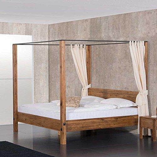 Pharao24 Massivholz Himmelbett aus Eiche geölt Landhaus Breite 177 cm Liegefläche 160x200