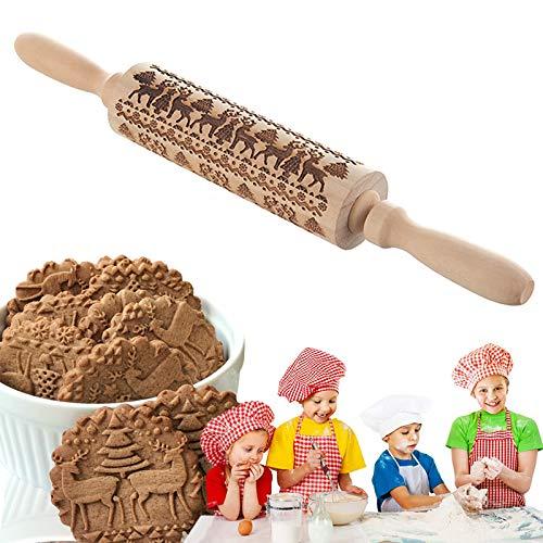 Gxhong Holz Nudelholz, Weihnachten Geprägt Teigroller, DIY Küchenwerkzeug Backzubehör für Fondant Teig Pizza Amygline Keks (Elch)