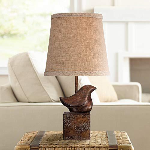 Bird Moderne Cottage Accent Table Lamp 15 1/2' High Bronze Crackle Burlap Hardback Shade for Bedroom...