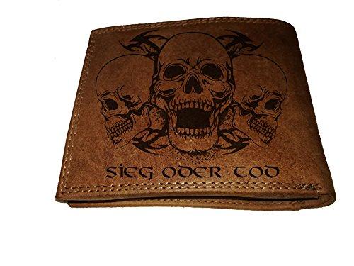 Geldbörse Portemonnaie Brieftasche Totenkopf Schädel Sieg oder Tod echt Leder für Damen und Herren viele Fächer für Karten großes Münzfach