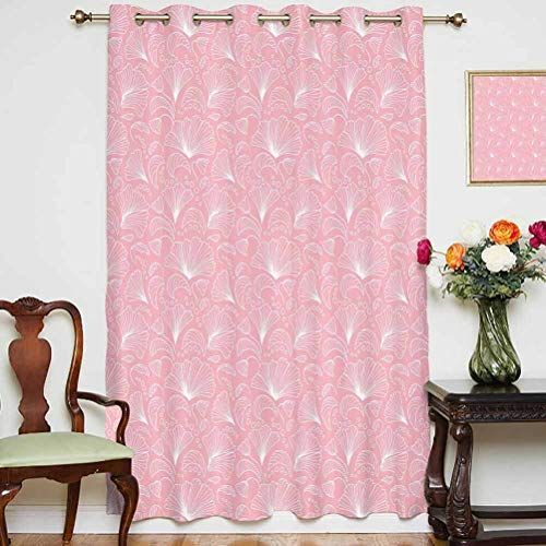 Light Pink Blackout Curtain Ornamental Floral Pattern with Swirled Lines Flourishing Petals Elegance Girls Design Decorative Grommets Panels Printed Curtains ,Single Panel 63x84 inch,for Glass Door W