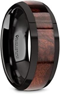 Black Ceramic Domed Wedding Ring with Real Redwood Inlay and Polished Edges 8mm Band