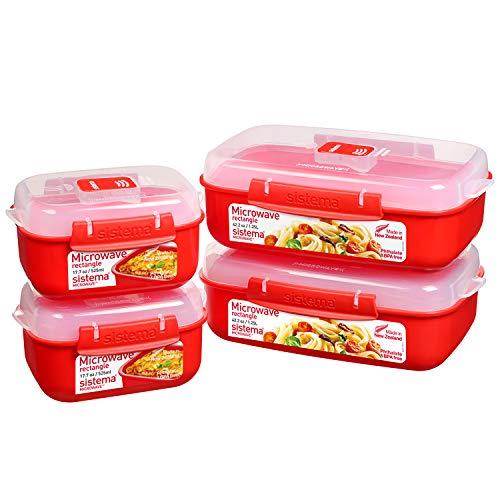 Sistema Heat and Eat microondas juego | 4 recipientes rectangulares con tapas para alimentos (2 de 1,25 l + 2 de 525 ml) | Clips de cierre y sistemas de ventilación del vapor | Sin BPA