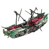 Barco hundido de Acuario, pecera Barco de naufragio Barco de Pesca de Resina Destructor hundido Decoración de paisajismo neumático Juguete de Barco podrido