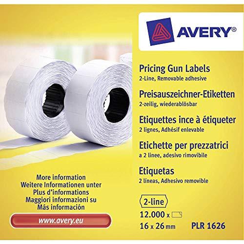 AVERY Zweckform PLR1626 Etikettenrolle (12.000 Stück, 2-zeilig, wiederablösbar, 16 x 26 mm) 10 Rollen weiß