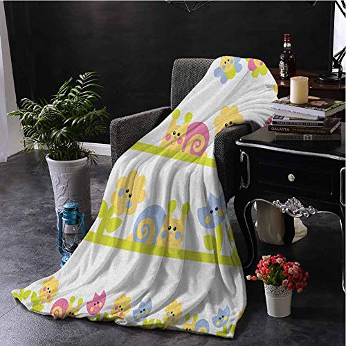 Kids Commercial Grade Printed Blanket Cartoon Character Bees Tulip and Daisy Flowers Snails Garden Pattern Queen King W80 x L60 Inch Baby Blue Pale Green Yellow
